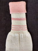 Edwardian 1920 Child Stockings Pink Cream Cuff Unworn Socks Hosiery