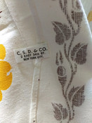 1950s Printed Kitchen Dish Tea Towel  Vintage Old Stock Floral Brown Yellow