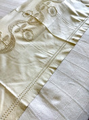 Antique Colonial Candlewicking Embroidery Muslin Pillow Cover Sham Fringe Trim