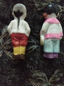 Pair Vintage Japan Frozen Charlotte Penny Bisque Dolls Asian Boy Girl Dress Costume