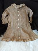 1880's Brown Homepun Child's Dress Button Front  Antique Children