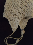 1920's Child Wool Bonnet Vintage Baby Hand Knit  Off White
