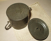 Antique 1800 Victorian Embossed Tin Covered Sugar Bowl Child's Toy