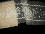 Antique Edwardian 1920's Tambour Darn Net Metallic Lace Dress Trim