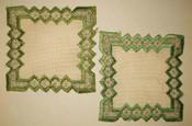 2 Antique Victorian 1890s Silk Gold Metallic Thread Embroidery Doily