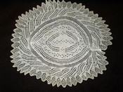 "1920's 1950's White Cotton Hand Knitted Vintage 16""  Oval Table Doily"