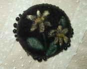 19th Century Victorian Black Velvet Hand Painted Pin Keep Cushion