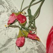1920s Rayon Lingerie Hosiery Drawstring Bag Rosette Ribbon Buds