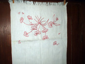 Victorian 1900's Turkey Redwork Table Runner Embroidery Daisy Flower