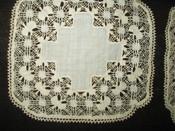 2 Small Fine Victorian Drawnwork Lace Table Doily Mat