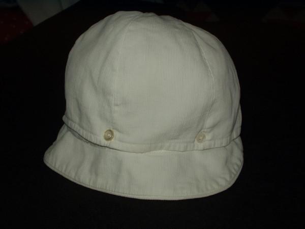 Vintage Boy Children White Pique Button Brim 1920 1930 Hat Cap