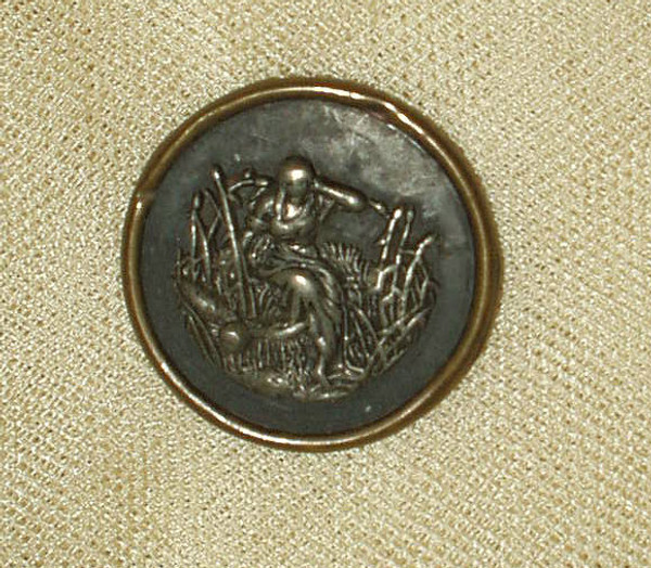 Antique Victorian 1890 Metal Brass Figural Button Maiden Bulrushes