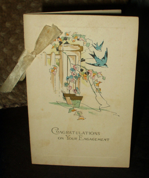Vintage 1930 Engagement Congratulations Greeting Card Booklet
