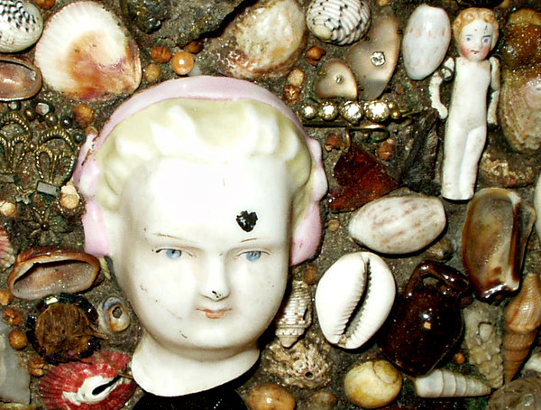Sailor Seashell Trinket Box Victorian Folk Art Shells Mementos Embellished