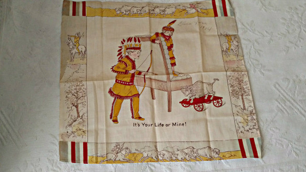 Vintage 1914 Children Printed Lithograph Handkerchief  Buffalo Indian Toys