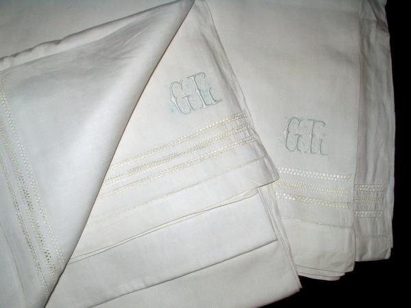Antique Drawnwork Monogram Linen Bed Sheet  Edwardian 1920's Bedding