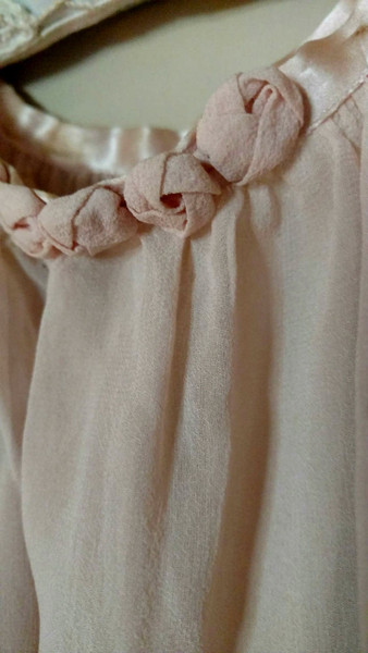 Vintage 1920s Girl Dress Chiffon Silk Fabric Rosettes Ribbon Home Sewn
