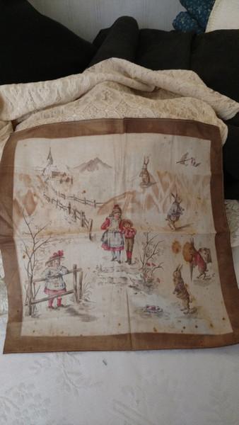 1900s Victorian Handkerchief Hankie Easter Bunny Rabbit Children