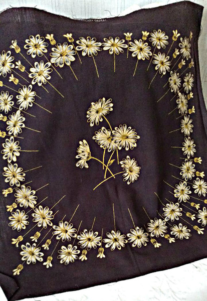 Early 1900s Stencil Daisy Flower Pillow Top Cover To Embroidery