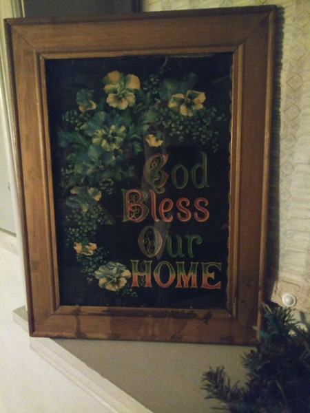 Victorian Lithograph Printed Paper Motto God Bless Our Home Pansy Flowers Framed