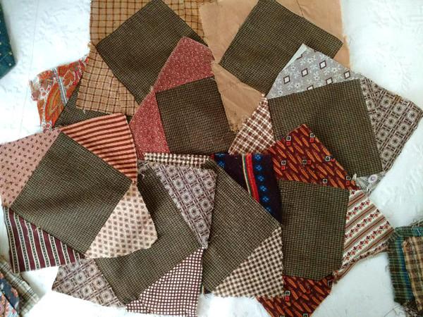 56 Antique Quilt Blocks Hand Stitched Pieced Calico Victorian Fabrics