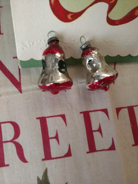 2 Vintage Glass Christmas Ornaments Feather Tree  Mini Bells
