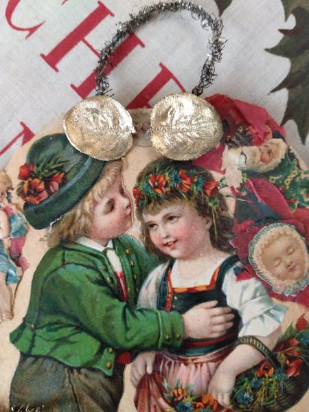 Antique Vintage Children Paper Scrap & Tinsel Christmas Tree Ornament