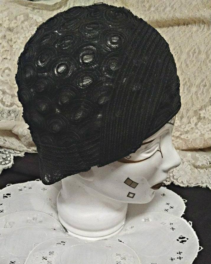 93c248260f236 Black Horsehair Flapper Cloche Hat 1920s Helmet Style Millinery ...