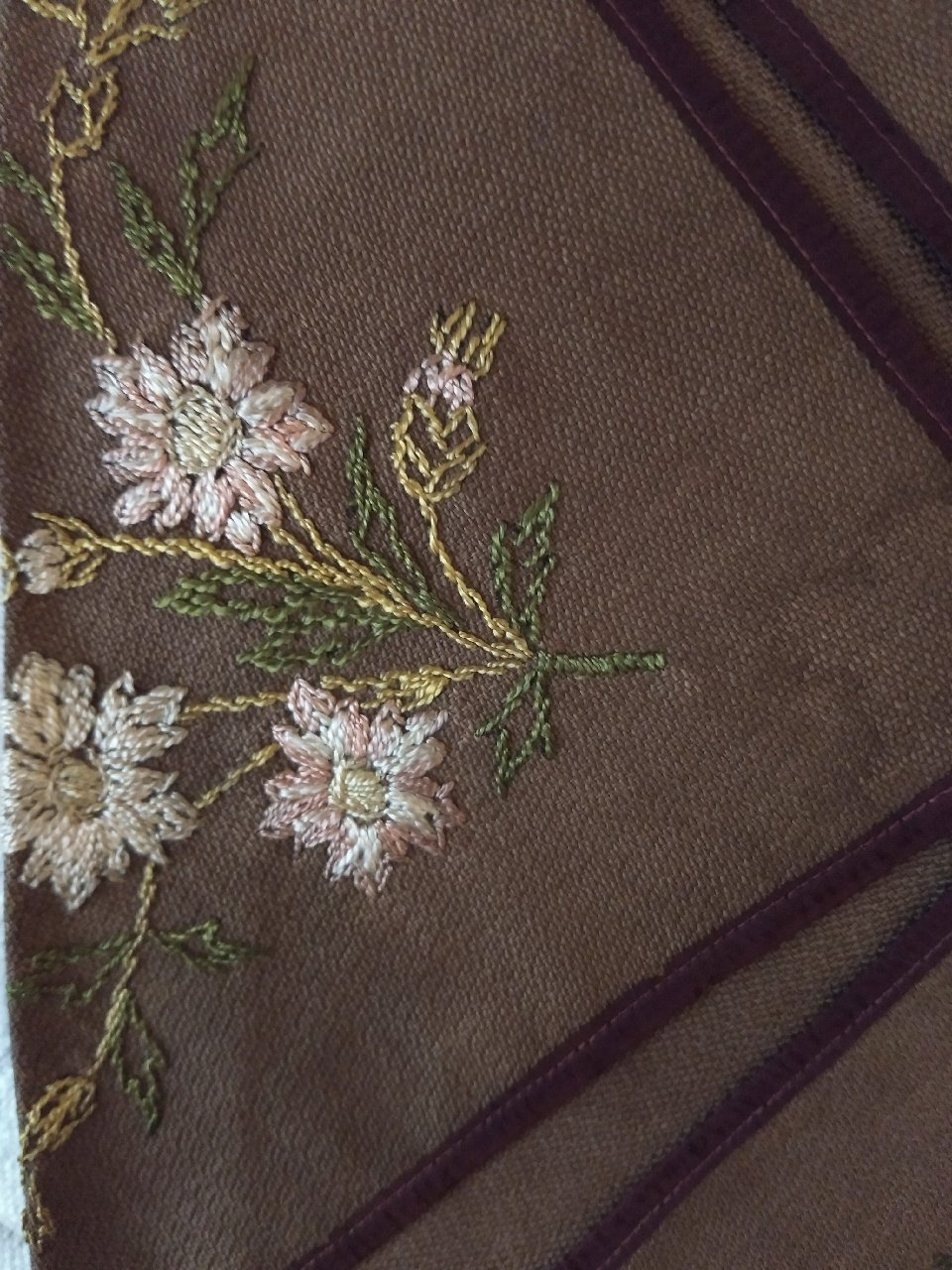 Society Silk Embroidery Napkin Holder Linen Ribbon 1880s Victorian The Gatherings Antique Vintage