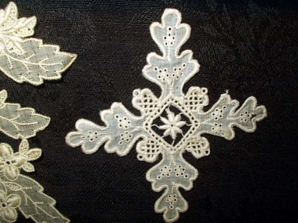 Vintage early 1900s embroidery white work dress applique trim the