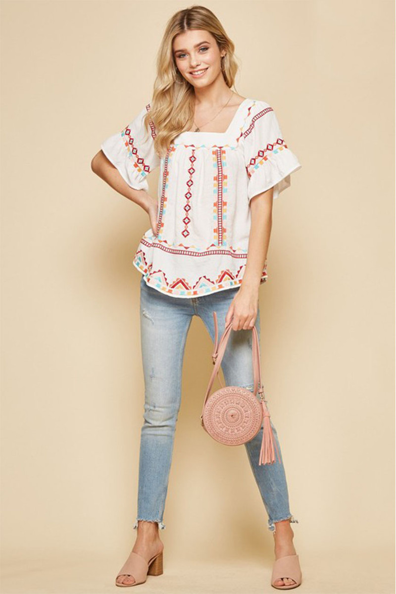 JANE EMBROIDERY TOP IN PLUS SIZE