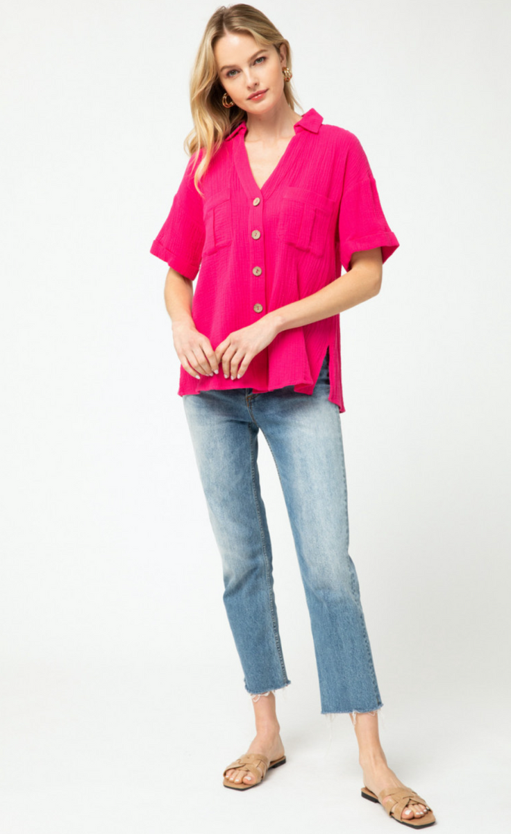 CATE BUTTON UP TOP