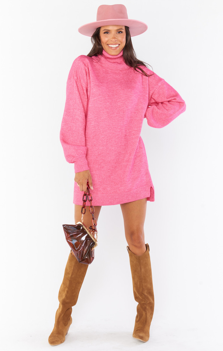 SHOW ME YOUR MUMU CHESTER SWEATER DRESS IN HOT PINK
