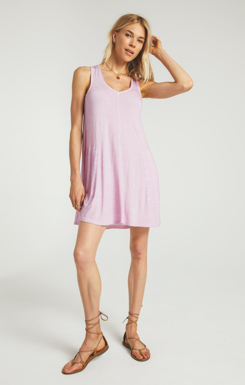 Z SUPPLY BAY V-NECK DRESS IN PINK LAVENDER