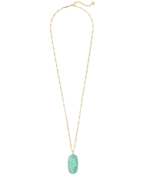 KENDRA SCOTT FACETED REID L0NG PENDANT NECKLACE IN SEA GREEN