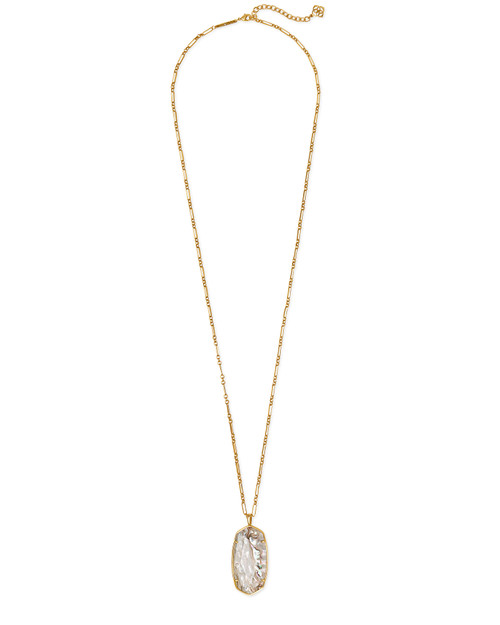 KENDRA SCOTT FACETED REID LONG PENDANT NECKLACE IN WHITE ABALONE