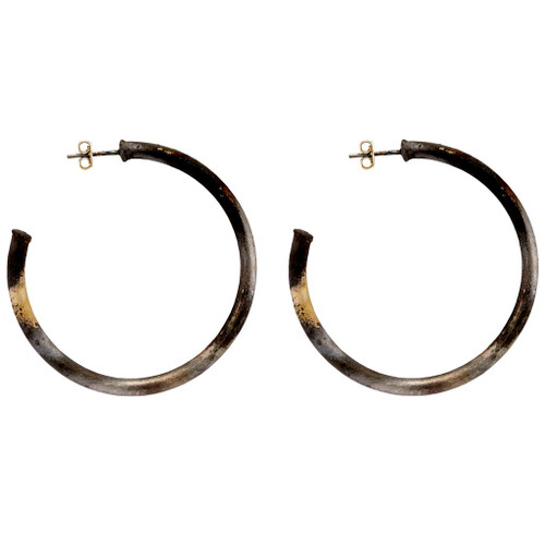 SHEILA FAJL SMALLER EVERYBODY'S FAVORITE HOOPS IN BURNISHED SILVER