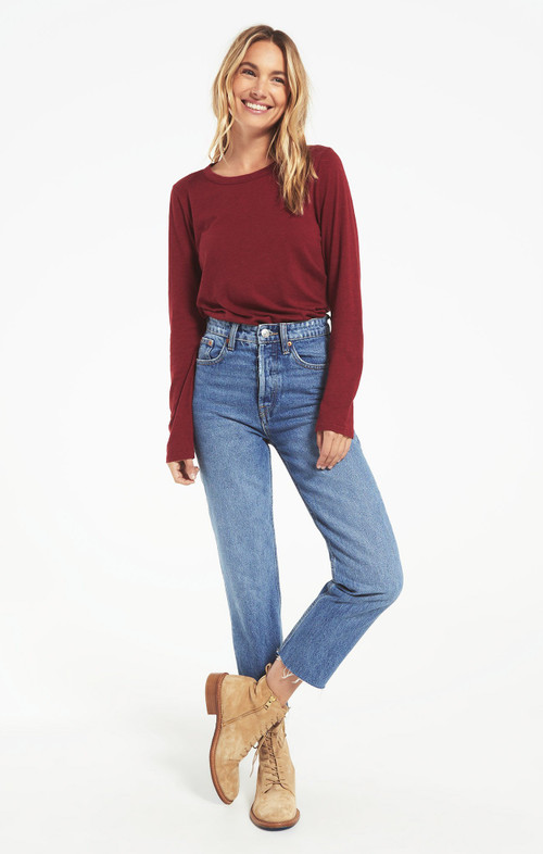Z SUPPLY EVERYDAY LONG SLEEVE TOP IN CABERNET