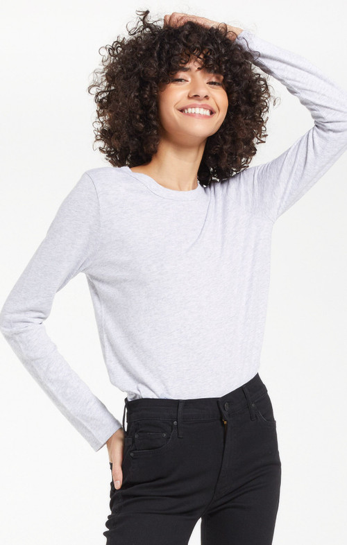 Z SUPPLY EVERYDAY BRUSHED LONG SLEEVE TOP IN HEATHER GREY