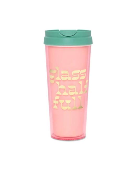 BAN.DO HOT STUFF THERMAL MUG GLASS HALF FULL