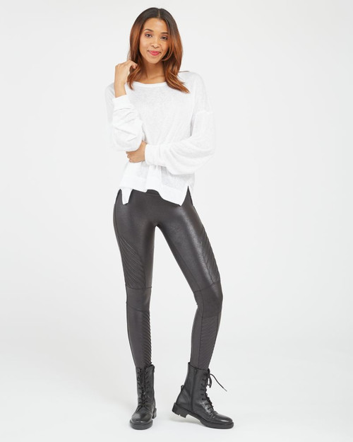 SPANX FAUX LEATHER MOTO LEGGINGS IN BLACK