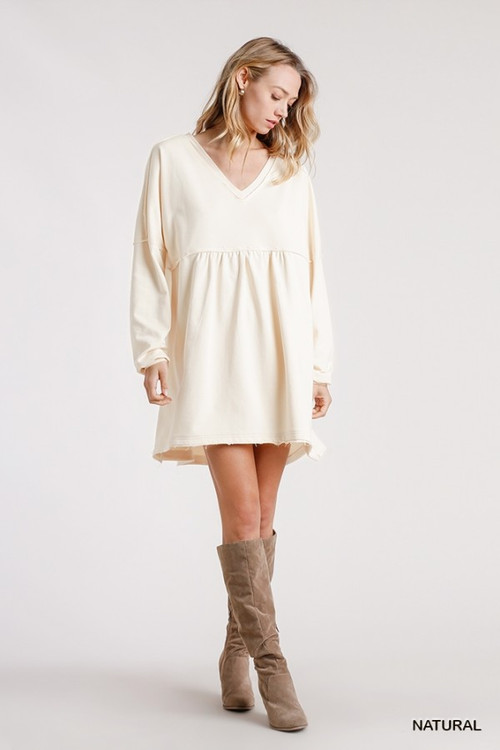 REID SWEATSHIRT DRESS IN NATURAL