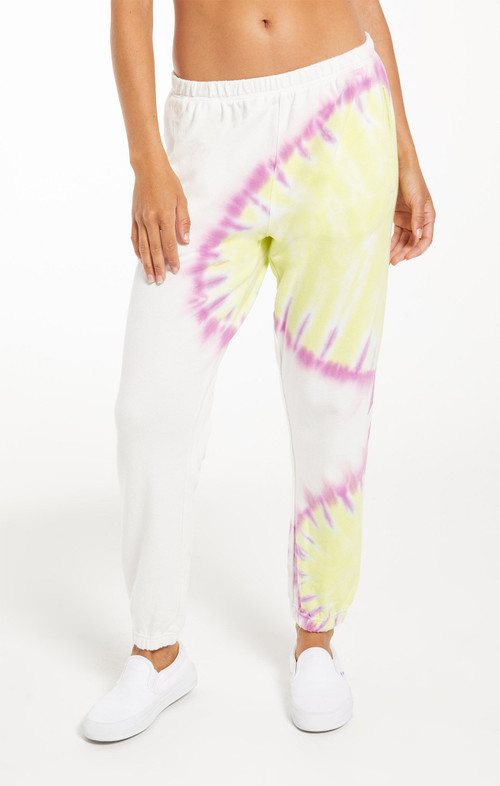 Z SUPPLY SUNBURST TIE DYE JOGGER IN WHITE
