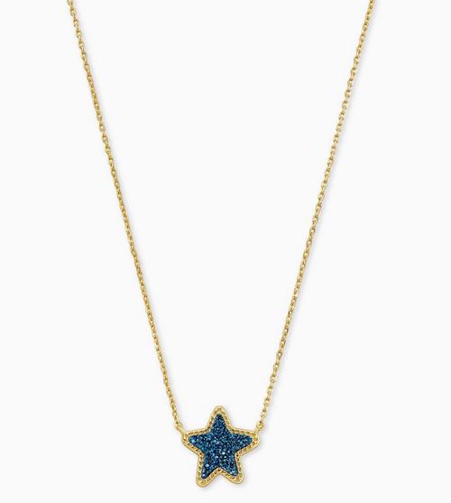 KENDRA SCOTT JAE STAR NECKLACE IN BLUE DRUSY