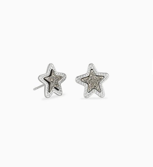 KENDRA SCOTT JAE STAR EARRINGS IN PLATINUM DRUSY
