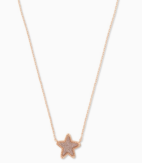 KENDRA SCOTT STAR NECKLACE IN ROSE GOLD DRUSY