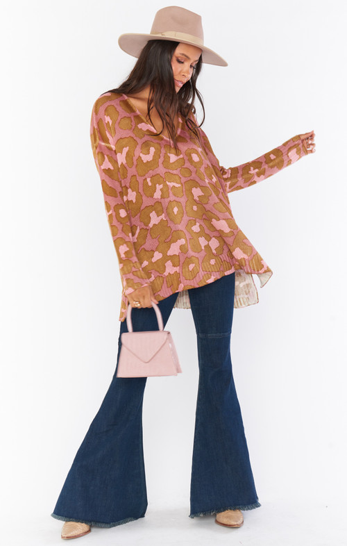 SHOW ME YOUR MUMU HUG ME SWEATER IN ROSY LEOPARD KNIT