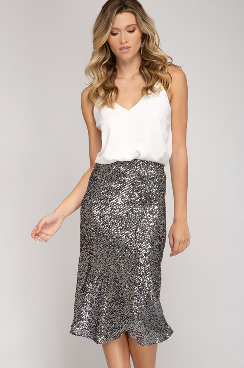 REED SEQUIN MIDI SKIRT IN SILVER