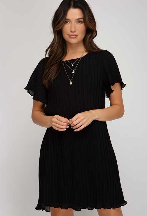 ALICE PLEATED DRESS IN BLACK