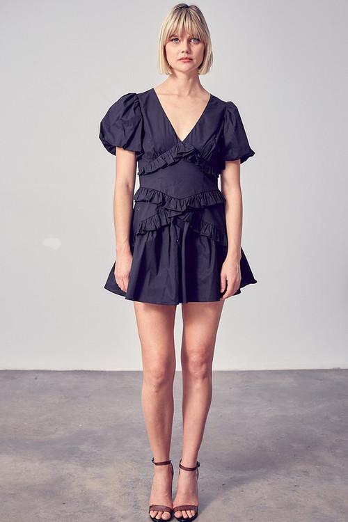 IRIS TIERED DRESS IN BLACK